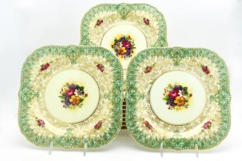 Set of 12 Royal Worcester Square Botanical Dessert Plates with Green  sc 1 st  Elise Abrams Antiques & Set of 12 Royal Worcester Square Botanical Dessert Plates with Green ...