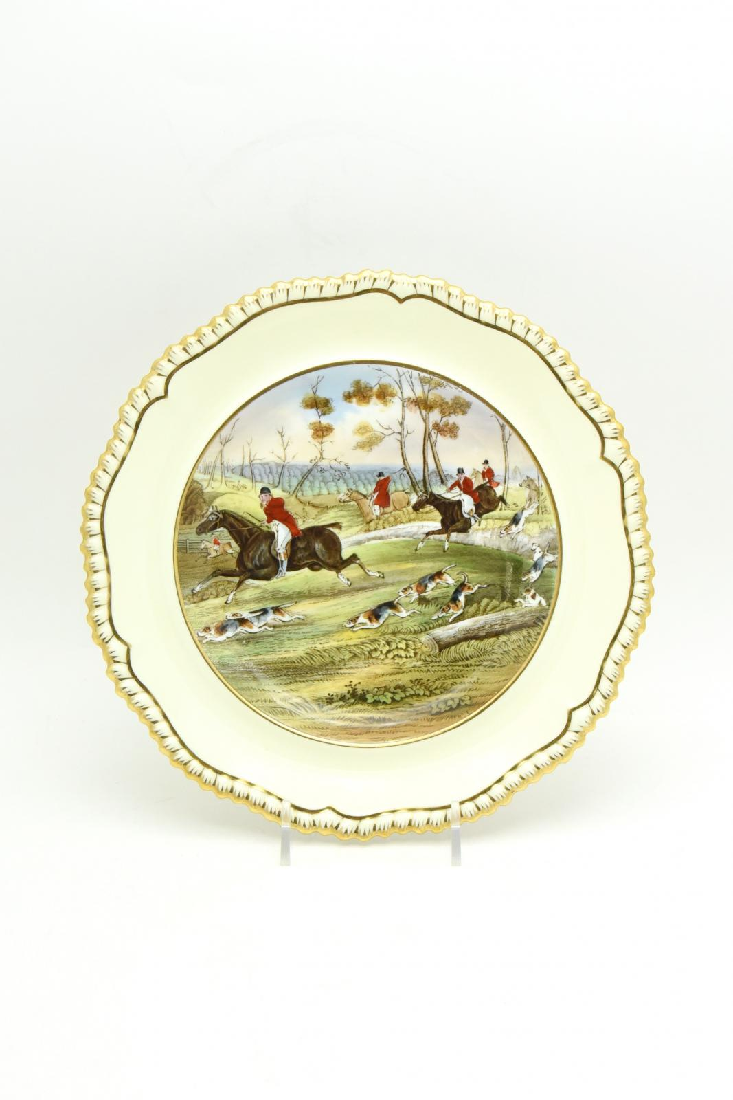 Set of 12 Copeland Spode Shaped Rim Hunting Scene Rimmed Soup Bowls ...