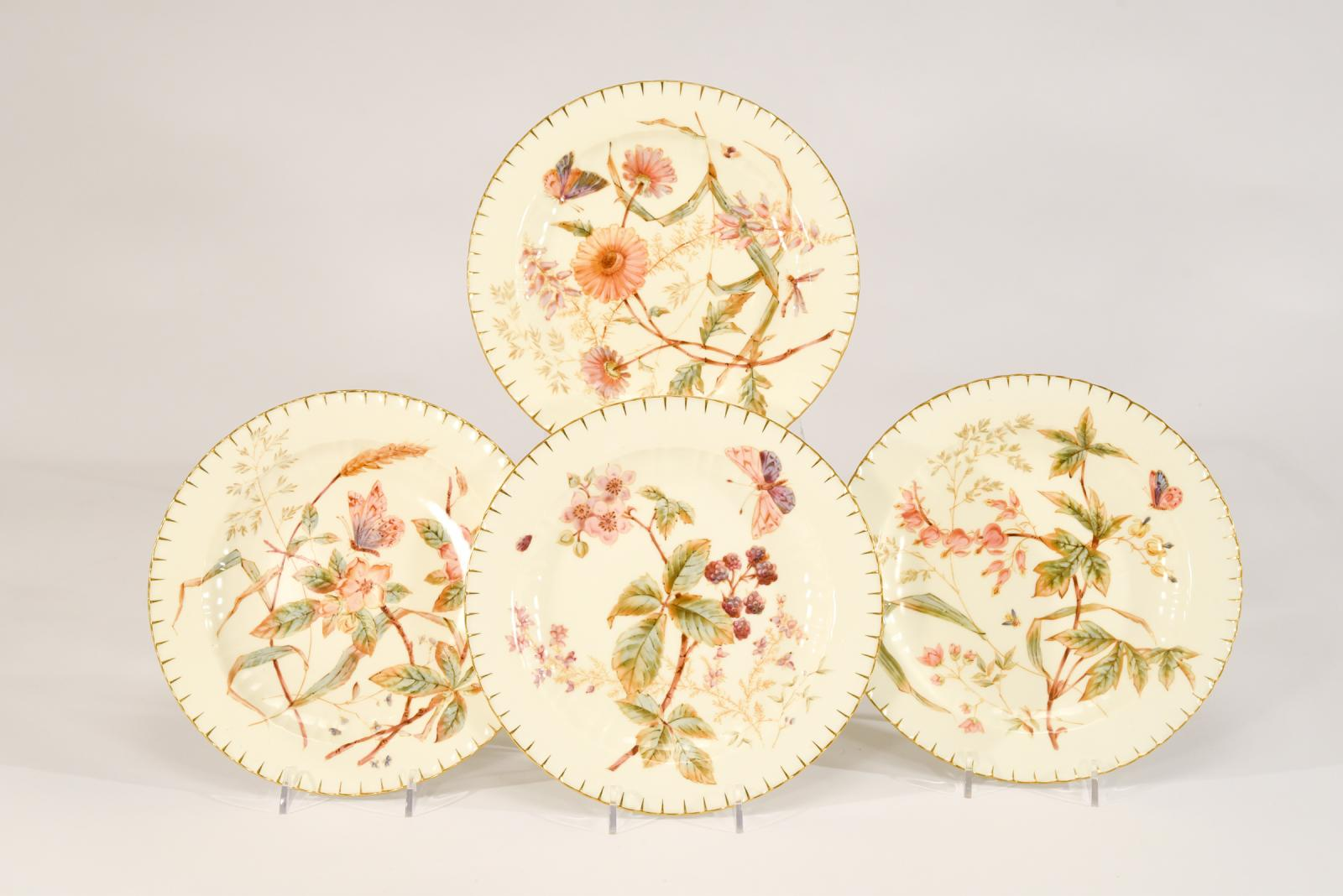 Hover to ZoomView Fullscreen. 12 Royal Crown Derby 19th C. Aesthetic Movement ... & 12 Royal Crown Derby 19th C. Aesthetic Movement Hand Painted Dessert ...