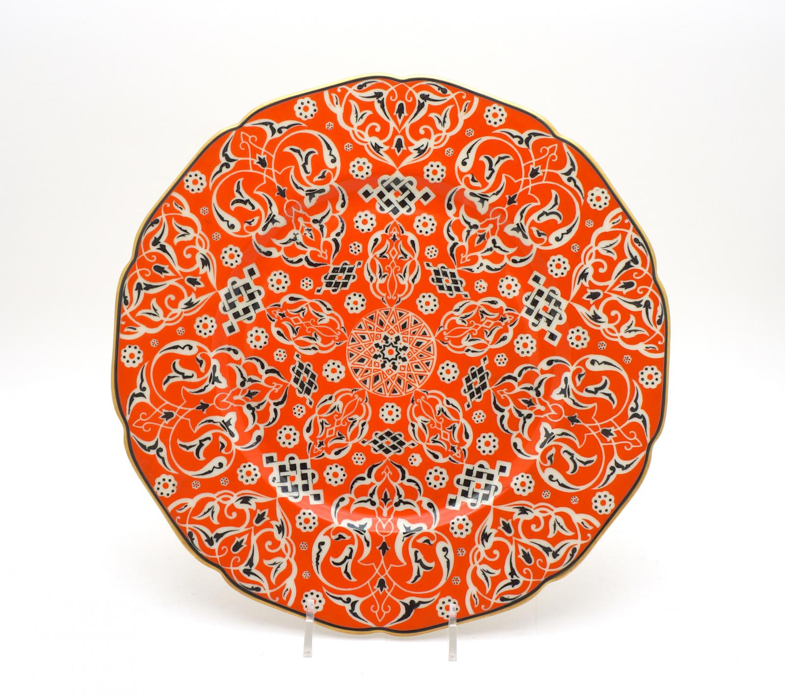 unusual arts  crafts shaped rim orange dinner plates  dinner  - hover to zoomview fullscreen
