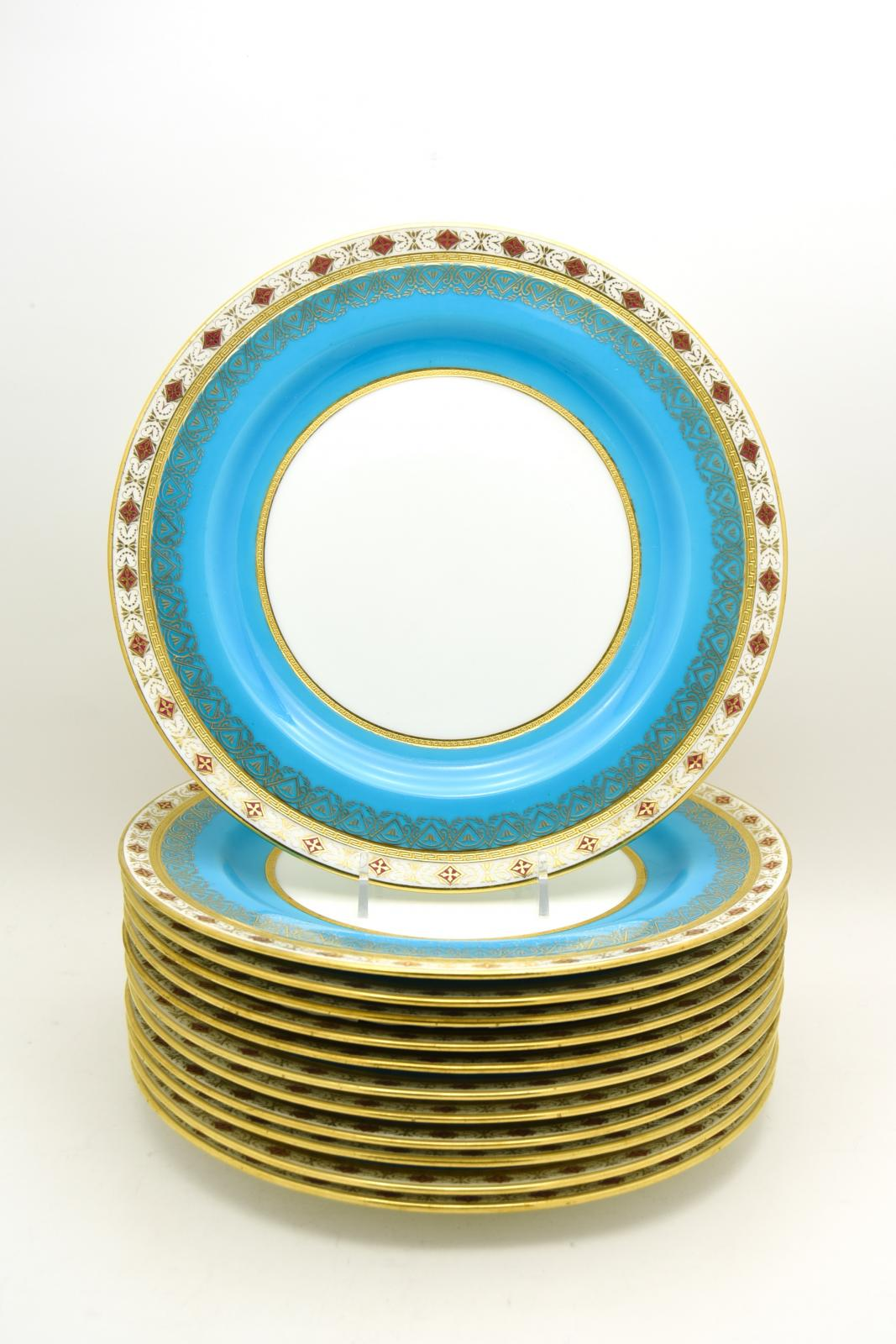 Hover to ZoomView Fullscreen  sc 1 st  Elise Abrams Antiques & Set of 12 Minton Turquoise Dinner Plates W/ Red \u0026 Gold Medallions ...