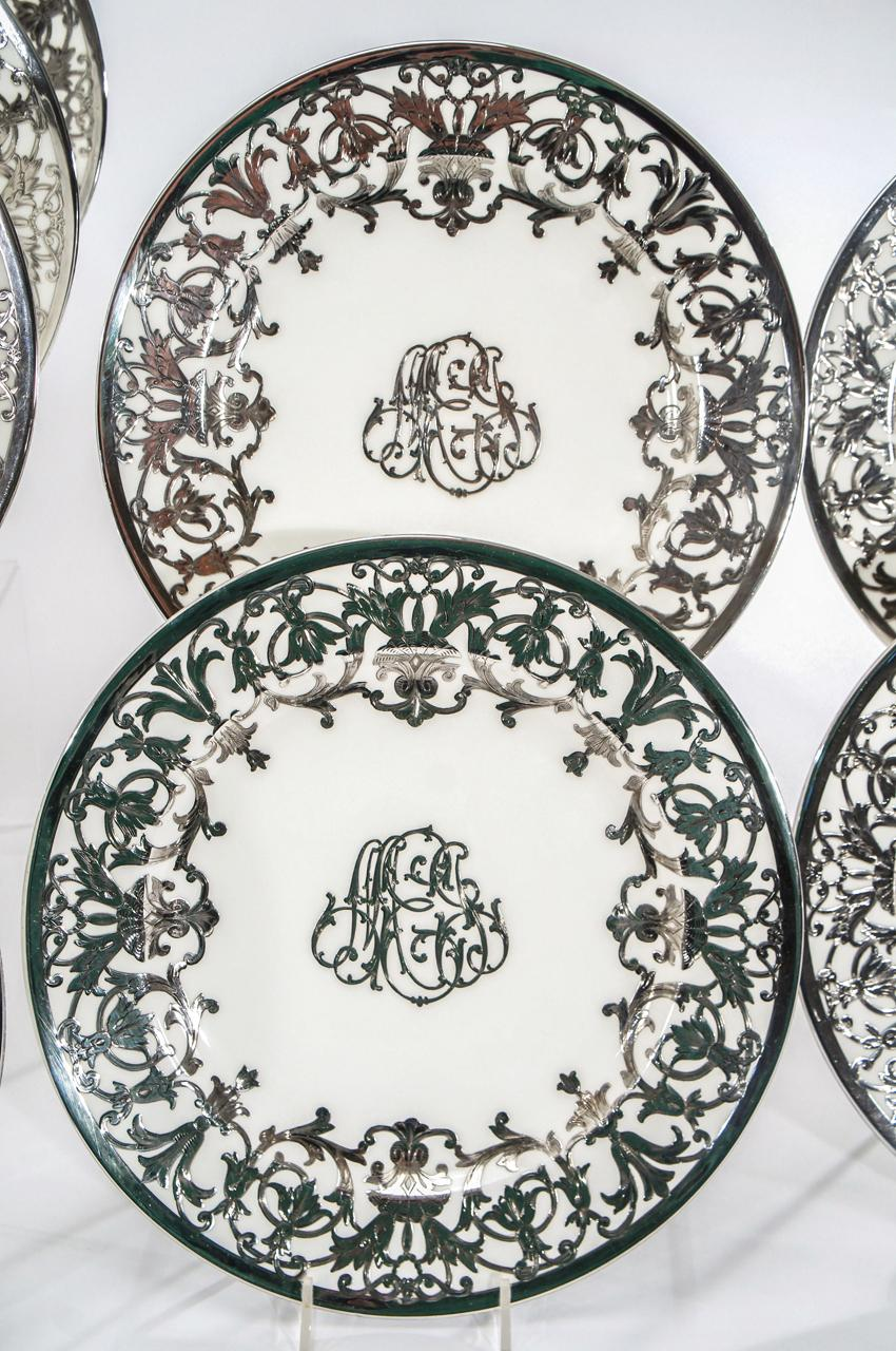 Hover to ZoomView Fullscreen  sc 1 st  Elise Abrams Antiques & Set of 12 Minton Art Nouveau Sterling Silver Overlay Service or ...