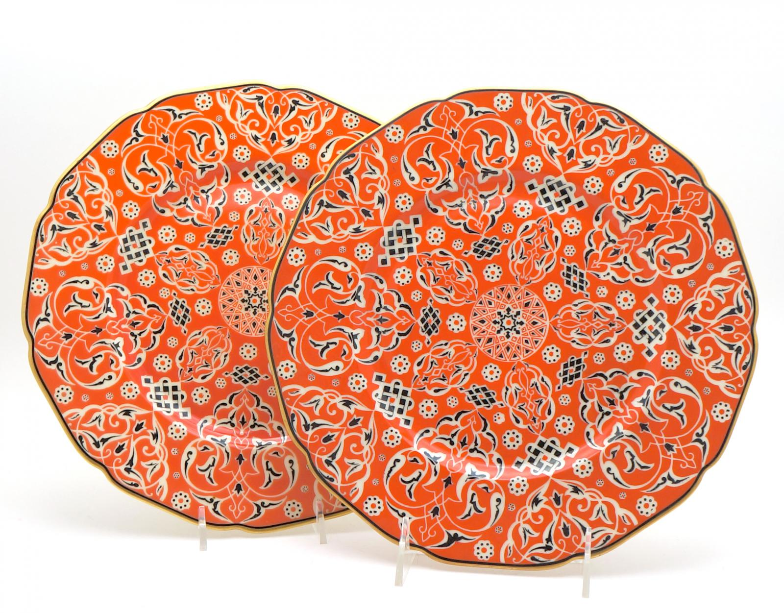 10 Unusual Arts & Crafts Shaped Rim Orange Dinner Plates | Dinner ...
