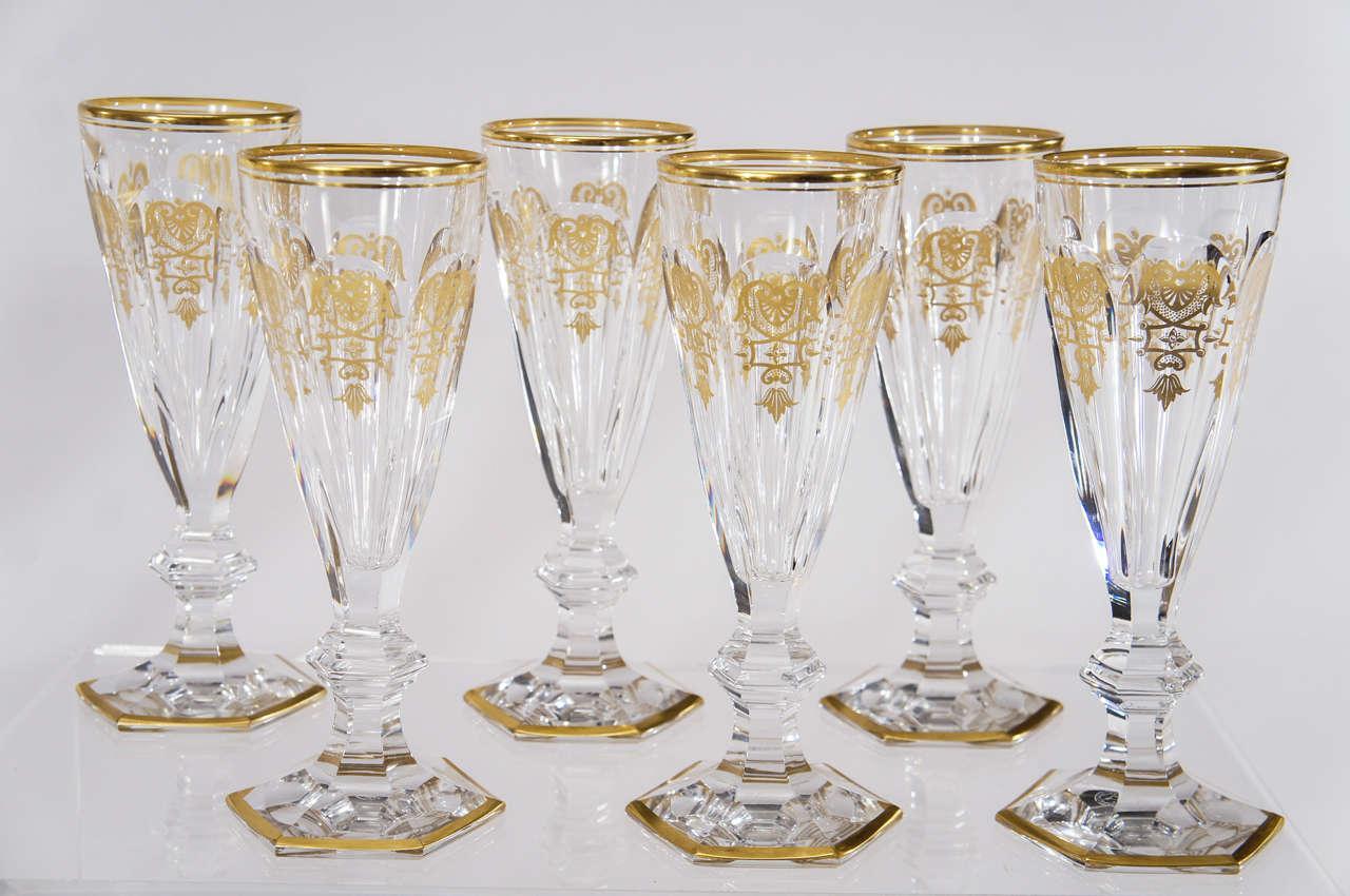 Set of 18 signed baccarat crystal champagne flutes empire pattern goblets stemware elise - Baccarat stemware ...