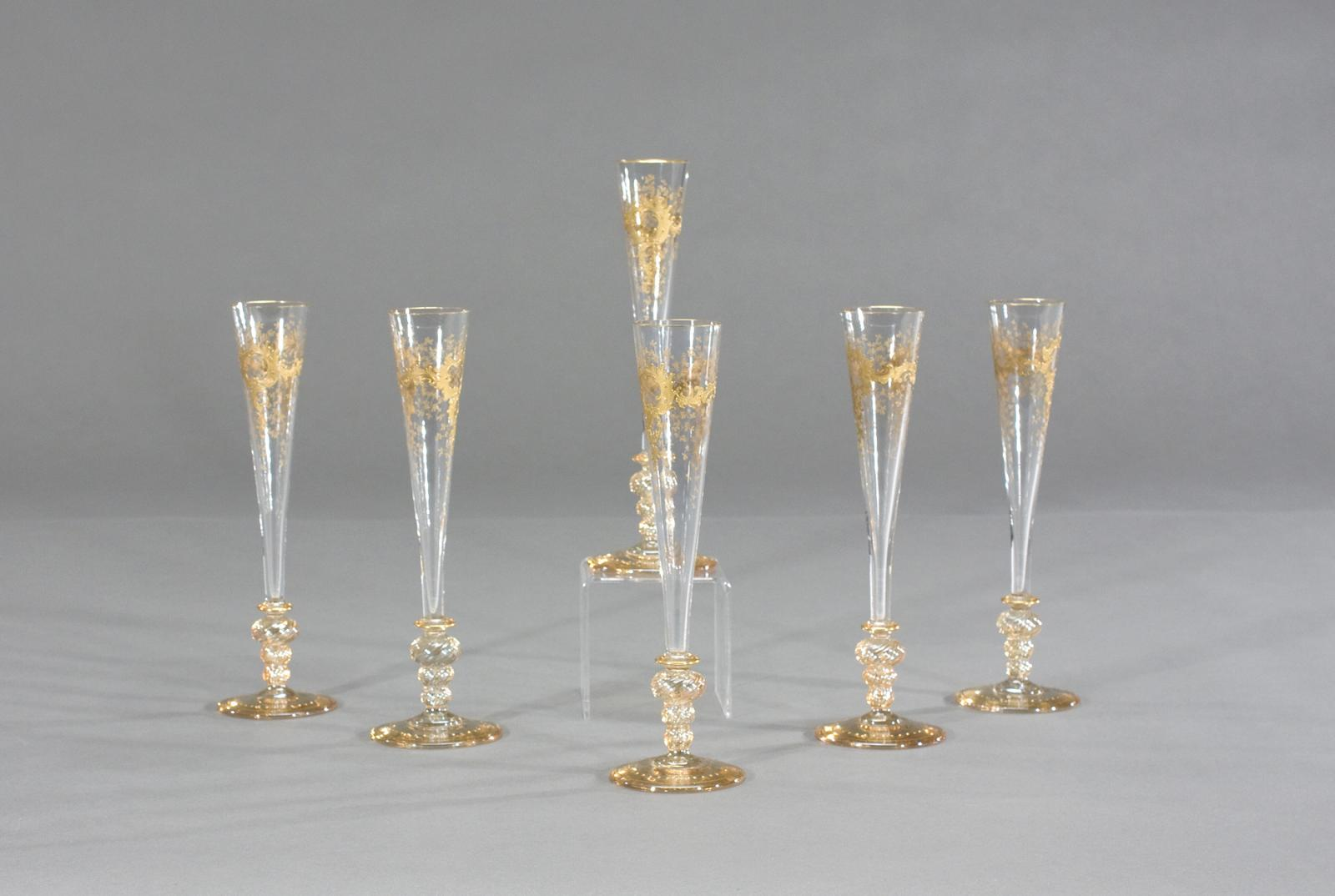 set of 6 venetian champagne flutes with raised gold goblets