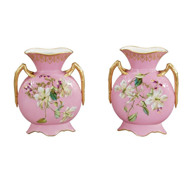 Pair Of T Haviland Handpainted Mantle Vases Aesthetic Movement